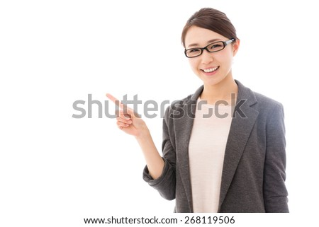 portrait of asian businesswoman showing isolated on white background
