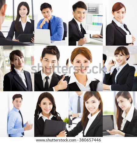 Portrait of asian Cheerful business People - stock photo