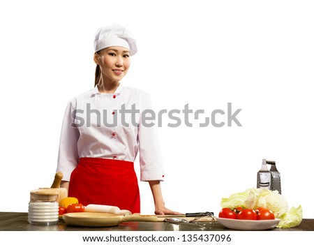 Portrait of Asian cooks, ingridenty on the table for cooking