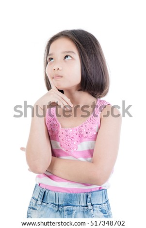 Portrait of Asian cute girl thinking about that on white background