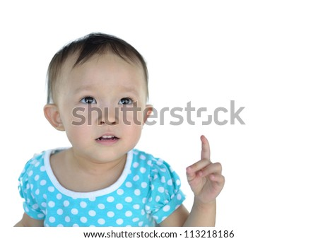 Portrait of asian girl on white background.