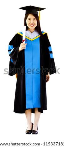 Portrait of Asian graduating student. - stock photo