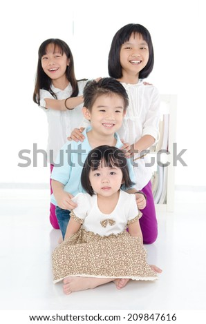 Portrait of asian kids - stock photo