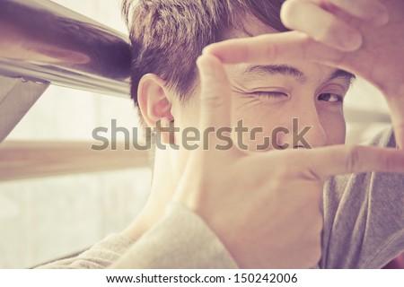 portrait of asian man - stock photo