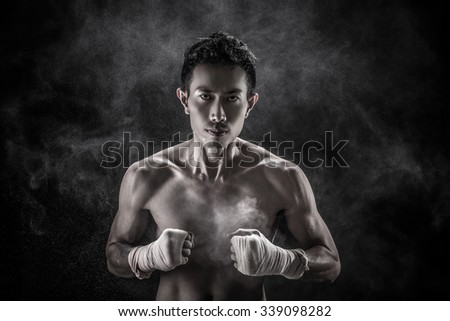 Portrait of Asian man- Topless, boxer concept