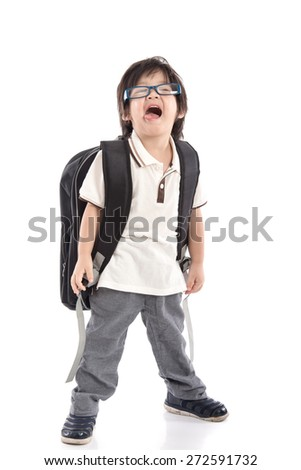 Portrait of Asian schoolboy with backpack wearing glasses isolated on white - stock photo
