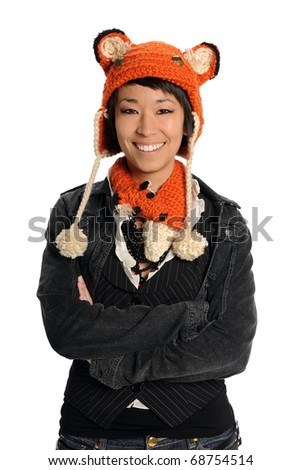 Portrait of Asian woman in casual clothes isolated over white background - stock photo