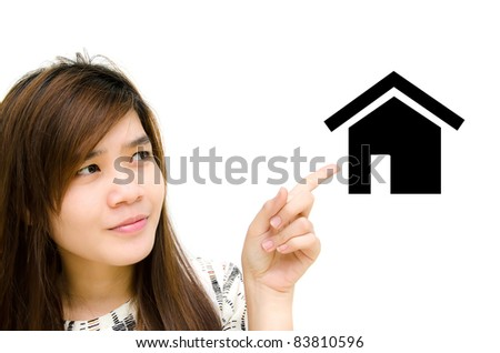 Portrait of asian woman pointing at home. - stock photo