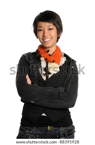 Portrait of Asian woman smiling isolated over white background - stock photo
