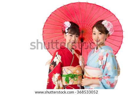 portrait of asian women wearing kimono isolated on white background - stock photo