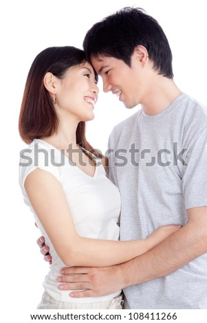 Portrait of Asian young couple isolated on white background.