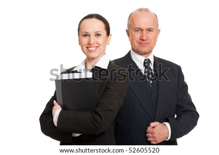 portrait of assured smiley businesspeople. isolated on white background - stock photo