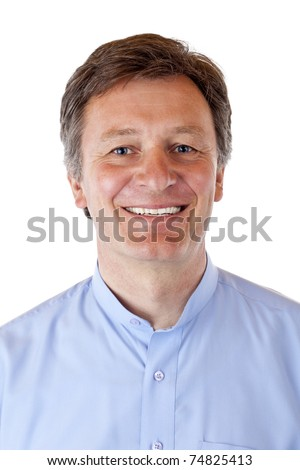Portrait of attractive, aged, happy, smiling senior man. Isolated on white background.