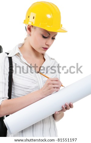 Portrait of attractive architect girl with hard hat - isolated on white background - stock photo