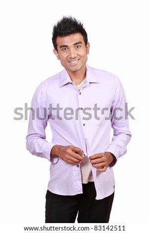 Portrait of attractive asian young man wearing cloth over white background - stock photo