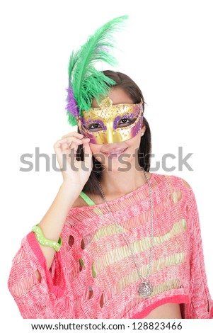 Portrait of attractive beautiful teenager wearing carnival mask