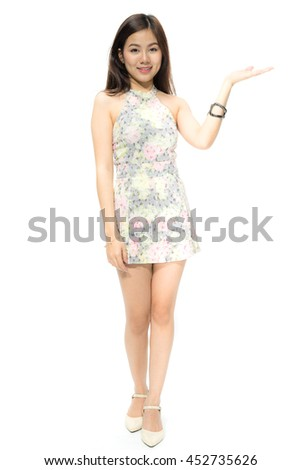 Portrait of attractive Beautiful Young Asian women smiling happy presenting with open hand showing empty copy space.  Female model isolated on white background. - stock photo