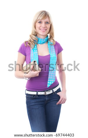 Portrait of attractive blonde woman with bag on the white background - stock photo