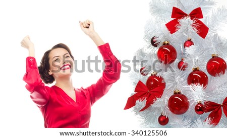 portrait of attractive  caucasian smiling business woman isolated on white studio shot looking at camera christmas new year tree - stock photo
