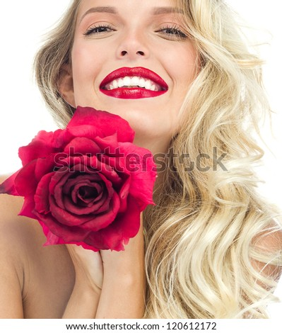 portrait of attractive  caucasian smiling woman blond isolated on white studio shot red rose lips toothy smile face long hair head and shoulders looking at camera - stock photo