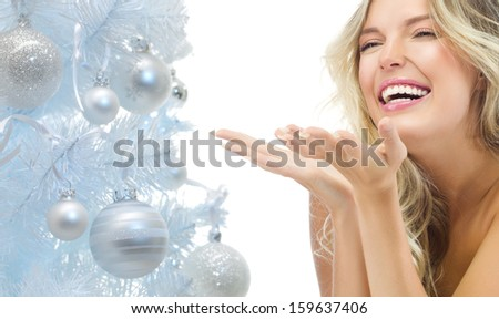 portrait of attractive  caucasian smiling woman blond isolated on white studio shot  toothy smile face long hair head and shoulders  - stock photo