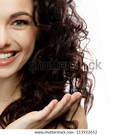 portrait of attractive  caucasian smiling woman brunette isolated on white studio shot