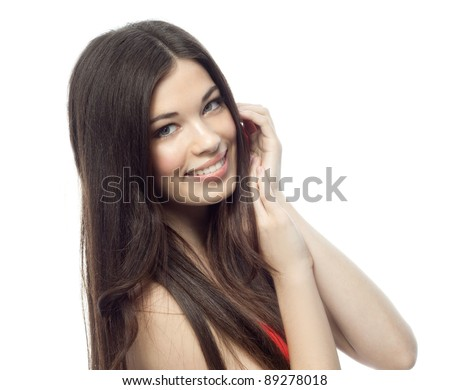 portrait of attractive  caucasian smiling woman brunette isolated on white studio shot - stock photo