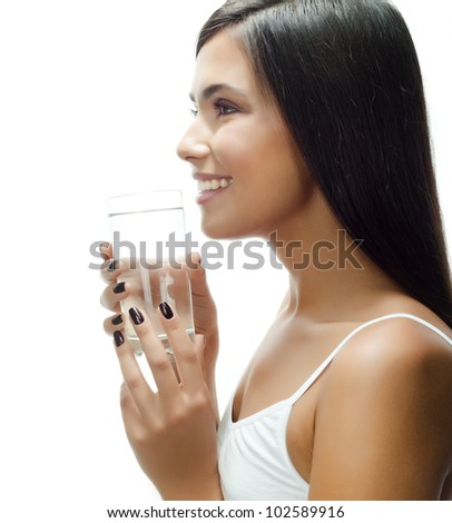 portrait of attractive  caucasian smiling woman isolated on white studio shot drinking water - stock photo