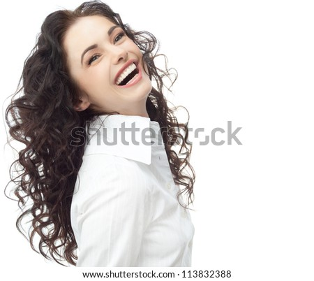 portrait of attractive  caucasian smiling woman isolated on white studio shot looking at camera businesswoman
