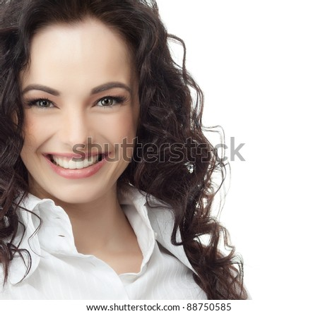 portrait of attractive  caucasian smiling woman isolated on white studio shot looking at camera thumb up - stock photo