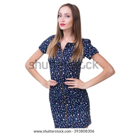 portrait of attractive caucasian woman - stock photo