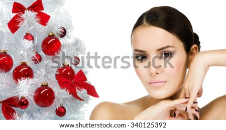 portrait of attractive  caucasian  woman brunette isolated on white studio shot christmas new year tree - stock photo