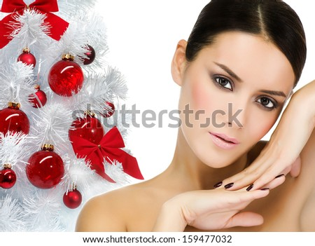 portrait of attractive  caucasian  woman brunette isolated on white studio shot looking at camera face skin closeup - stock photo