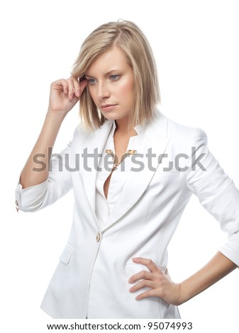portrait of attractive  caucasian  woman isolated on white studio shot in suit