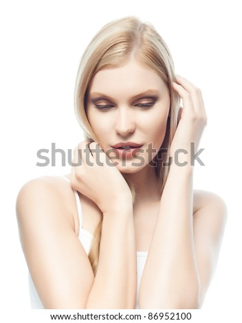portrait of attractive  caucasian woman  with long blond hair isolated on white studio shot - stock photo