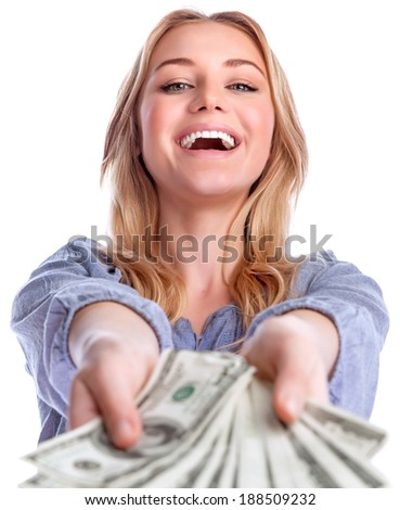 Portrait of attractive cheerful female showing many banknotes of one hundred dollars, isolated on white background, winning money prize   - stock photo