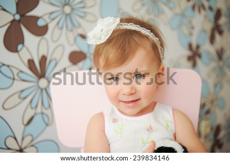 portrait of attractive girl with lace headband - stock photo