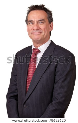 Portrait of Attractive Middle Age Business Man with Cheesy Grin - stock photo