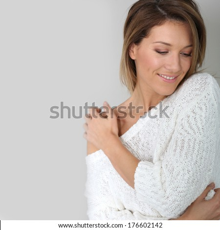 Portrait of attractive middle-aged woman - stock photo