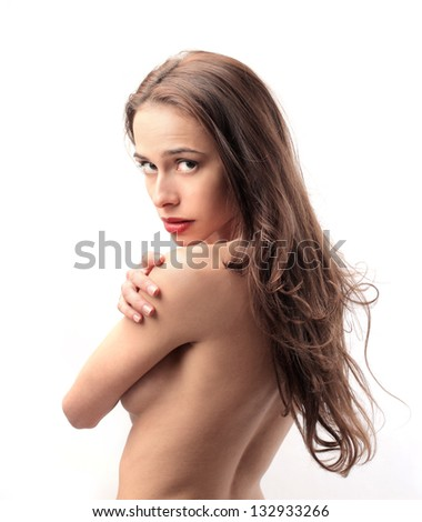 portrait of attractive nude woman - stock photo