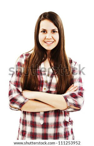 Portrait of attractive smile teenage girl folded hand. Isolated on a white background. - stock photo
