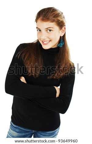 Portrait of attractive smile teenage girl folded hand. Isolated over white background concept of happy student, young pretty woman - stock photo