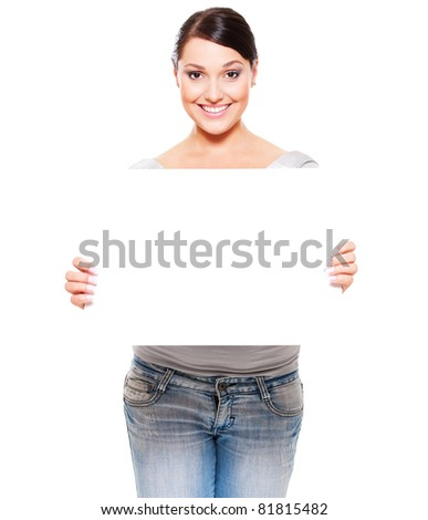 portrait of attractive smiley woman holding empty blank against white background - stock photo