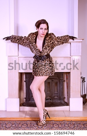 portrait of attractive stylish woman in fur - stock photo