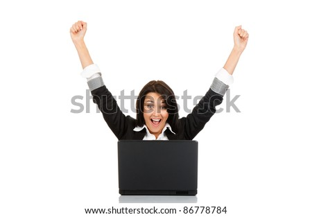 portrait of attractive surprised excited smile business woman hold hands up, isolated over white background, Winner businesswoman with success