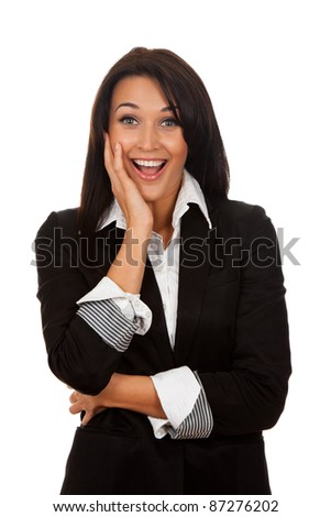 portrait of attractive surprised excited smile business woman, isolated over white background - stock photo