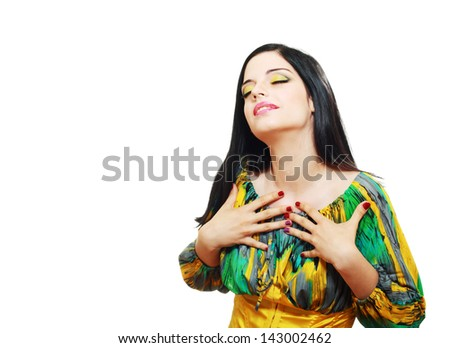 portrait of attractive surprised excited smile teenage girl eyes closed, isolated over white background