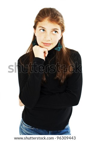 Portrait of attractive teenage girl think looking up. Isolated on white background - stock photo