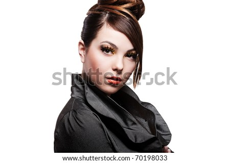 portrait of attractive woman over white background