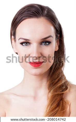 Portrait of attractive woman with long hair and red lips - stock photo